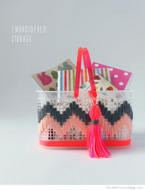 Firstly, how cool is this basket with neon handles?! I have several clear plastic containers that you get in your dollar/pound shops and Im not sure how they would look with this effect but I'm definitely prepared to try! I've never seen pen holders in this plastic material before. I am loving the neon pink …