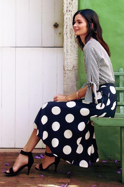 black and white polkadot midi skirt