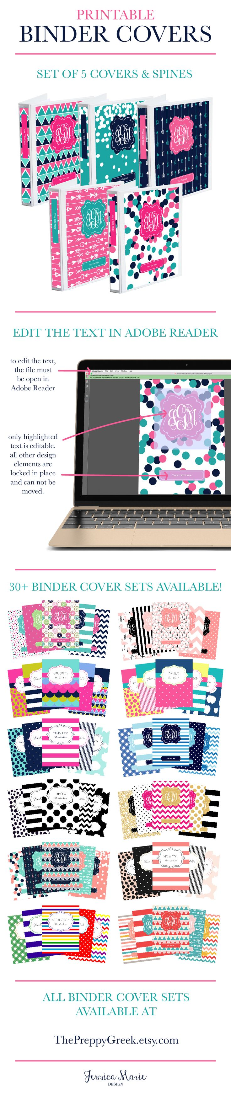 Are you ready to get organized? Printable Binder Covers are a perfect way to personalize and label your binders for school, life, and work! You can find a ton of different binder cover options at ThePreppyGreek.etsy.com