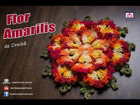 Flor de Crochê Amarilis - passo a passo - Professora Simone - YouTube