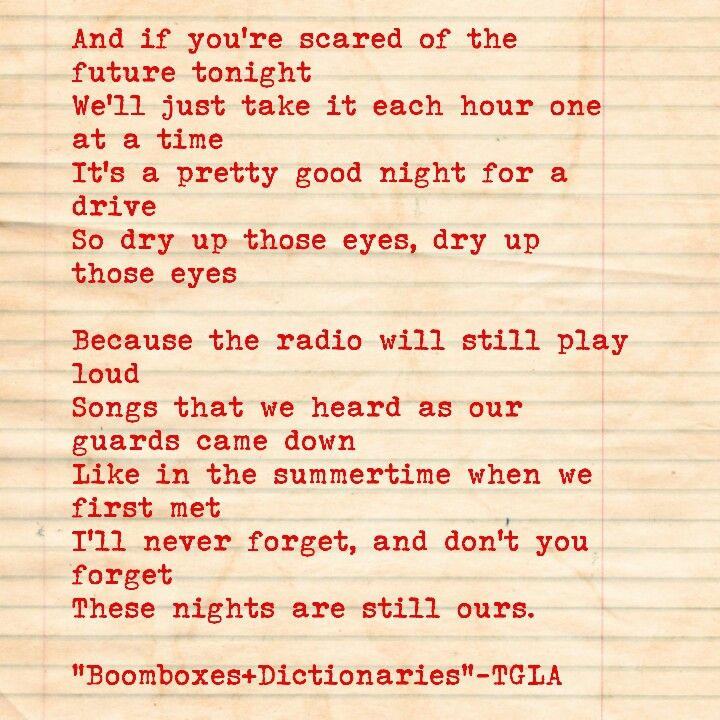 Boomboxes and Dictionaries lyrics by The Gaslight Anthem.
