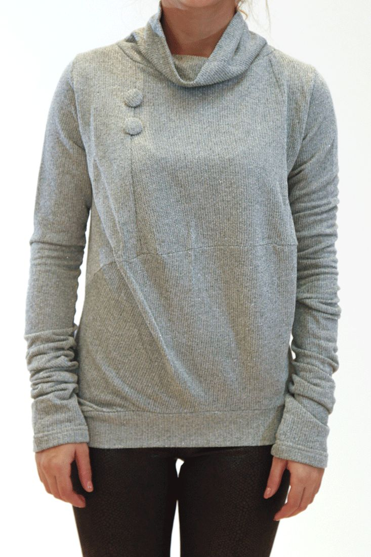 Lurex jersey top Loose turtleneck Decorative buttons Very long sleeves gathering at the bottom Slips on by broke queens #cardigan #knitwear #brokequeens #greek4chic