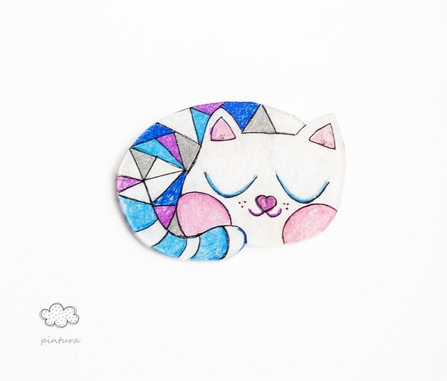 Cats on DaWanda Brooch made of heat shrinkable film. Fastening horizontal. Glossy surface like glass. hand-drawn. The dimensions of 6 / 4 cm