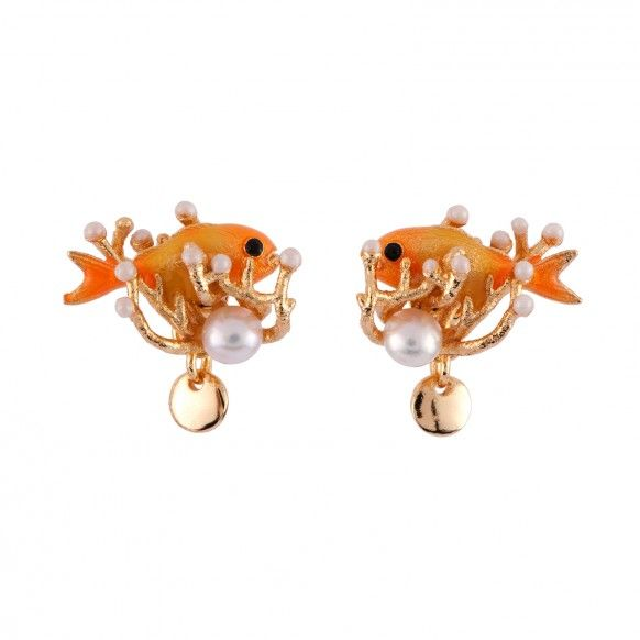 Fish and pearl earrings