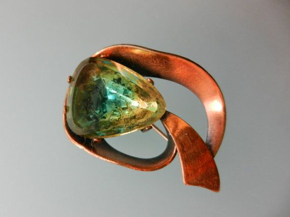 Nice modernist copper design brooch/pin  with by RAKcreations