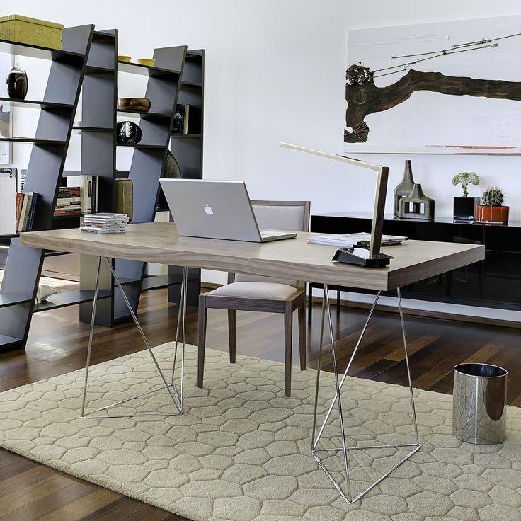 Bureau design avec plateau noyer pieds en métal MULTI