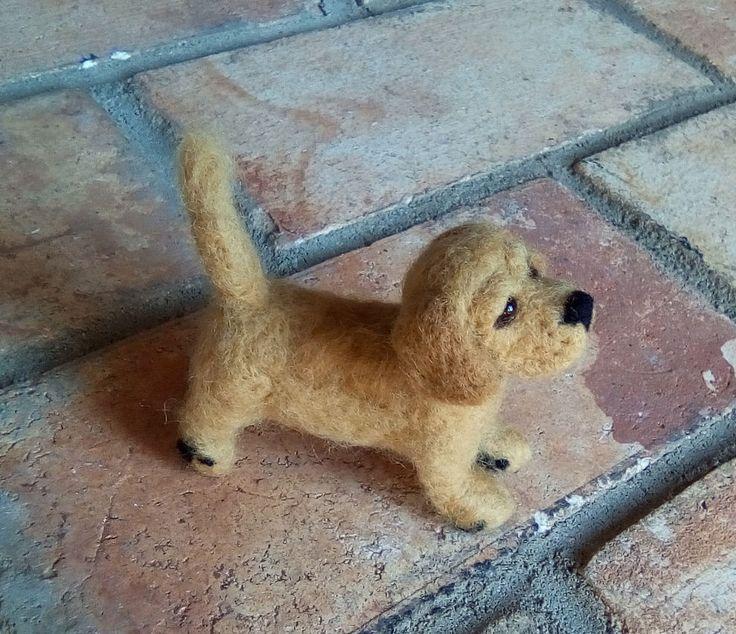 Needle felted golden labrador puppy by JuliePavittRobinson on Etsy