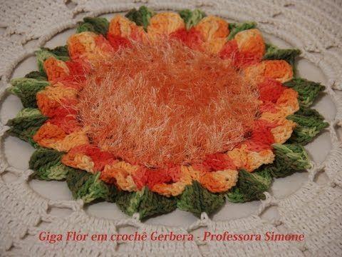 Giga Flor em crochê Gerbera - Professora Simone - YouTube