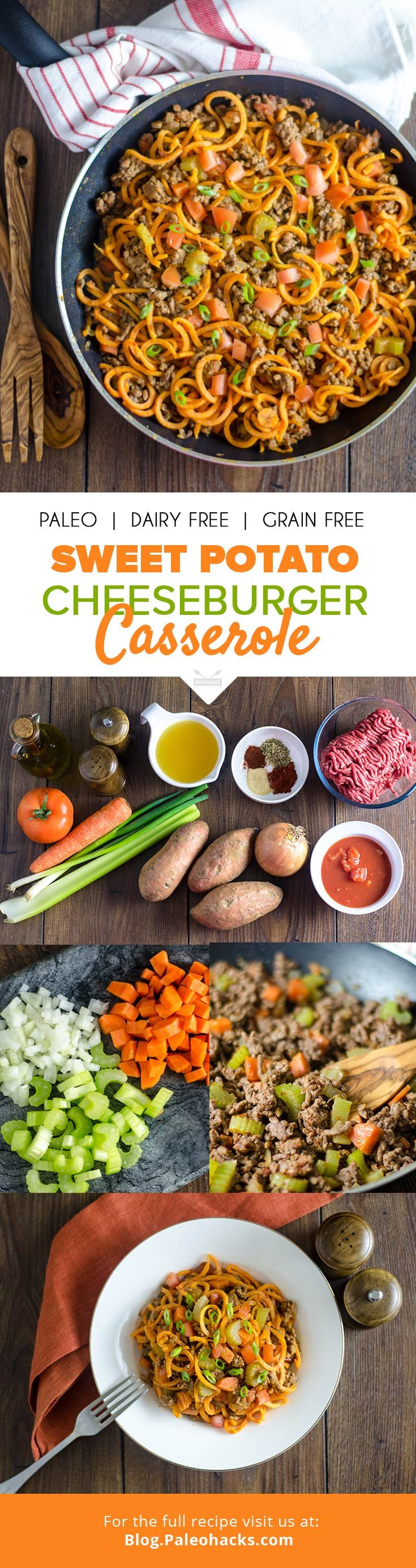 "This hearty dish puts a healthy spin on the classic cheeseburger casserole! For more Paleo recipe ideas grab our FREE ""Paleo Eats"" cookbook (just cover shipping costs). You can grab your copy here: paleorecipeteam.com/paleo-eats"