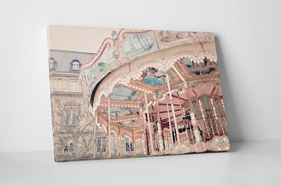 Carousel in Paris wall art in our pink and grey baby room and nursery decorating ideas post