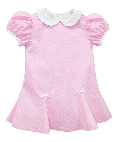 Pink & White Polka Dot Pleated Shift Dress - Toddler #zulily #zulilyfinds
