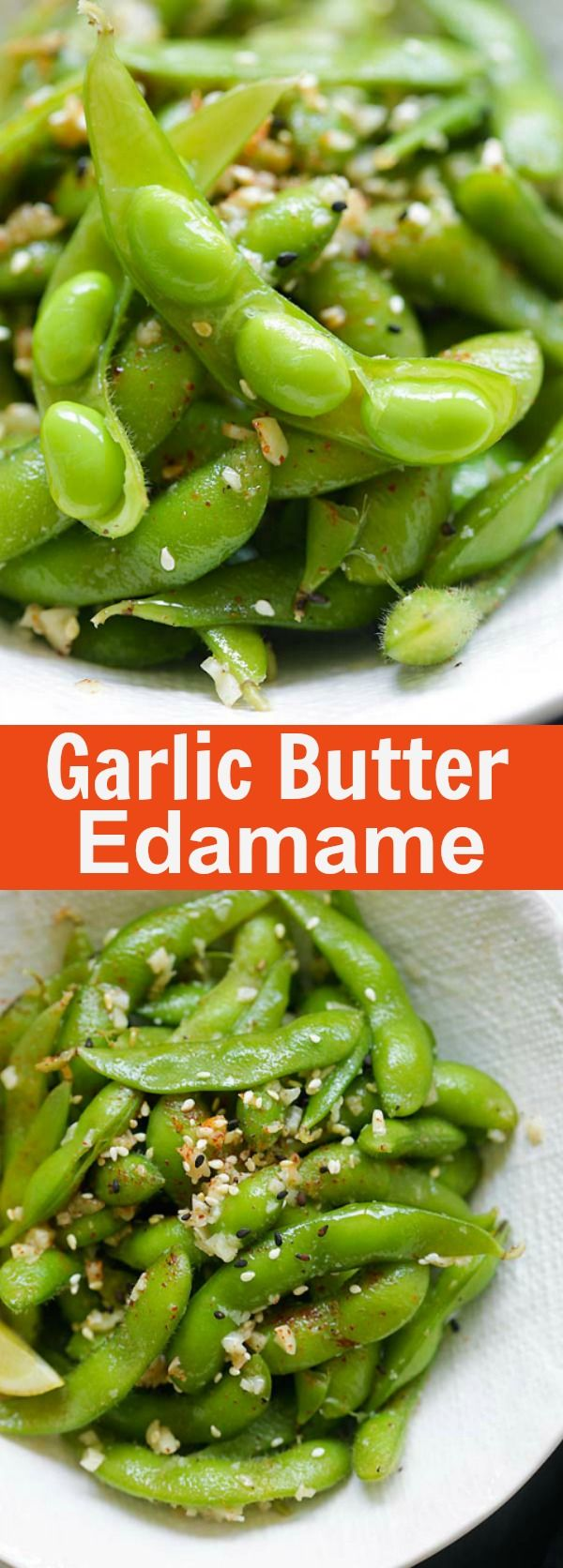 Garlic Butter Edamame – healthy edamame coated with garlicky and buttery goodness. The easiest appetizer you can whip up in 10 mins | rasamalaysia.com