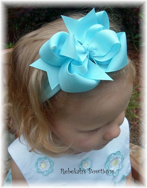 Light Ocean Blue Hair Bow Headband Bowband or Clip Barrette Infant Toddler Girls Baby Wedding Summer Exclusive Unique OOAK