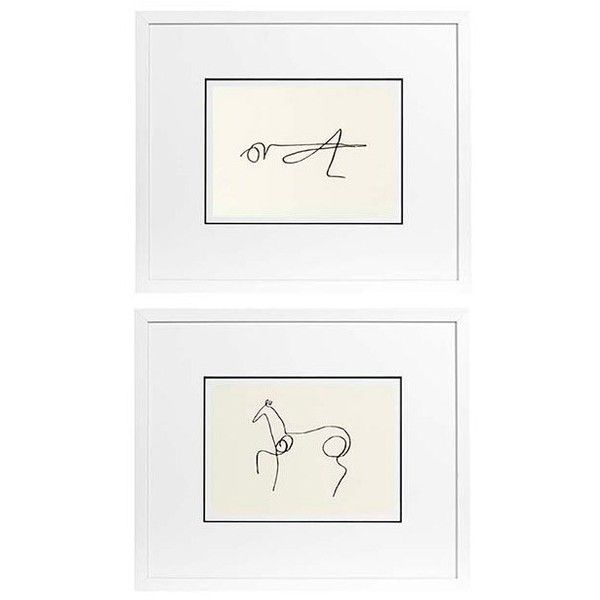 Eichholtz Ec195 Pablo Picasso Prints Set Of 2 ($395) ❤ liked on Polyvore featuring home, home decor, wall art, white, wooden wall art, wood home decor, eichholtz, white wall art and white wood wall art