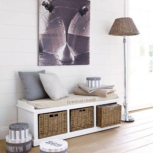 Panca portatutto bianca in legno e cotone L 130 cm
