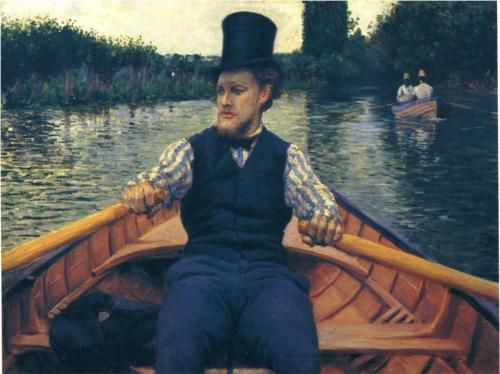 """""""Rower in a Top Hat"""", 1878, by Gustave Caillebotte (French, 1848-1894)"""