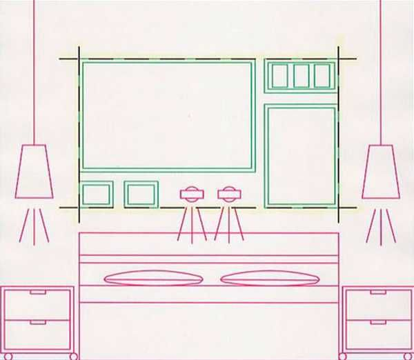 layout for arranging photographs on wall