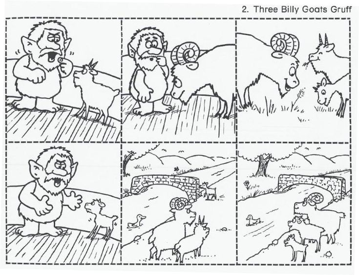 The Three Billy Goats Gruff sequencing cards. These are great for retelling! Have students number them and place them in the correct order on another sheet of paper. Then you can choose volunteers to use the pictures to help them retell the story in their own words. Free printable attached! K.RL.2 Common Core