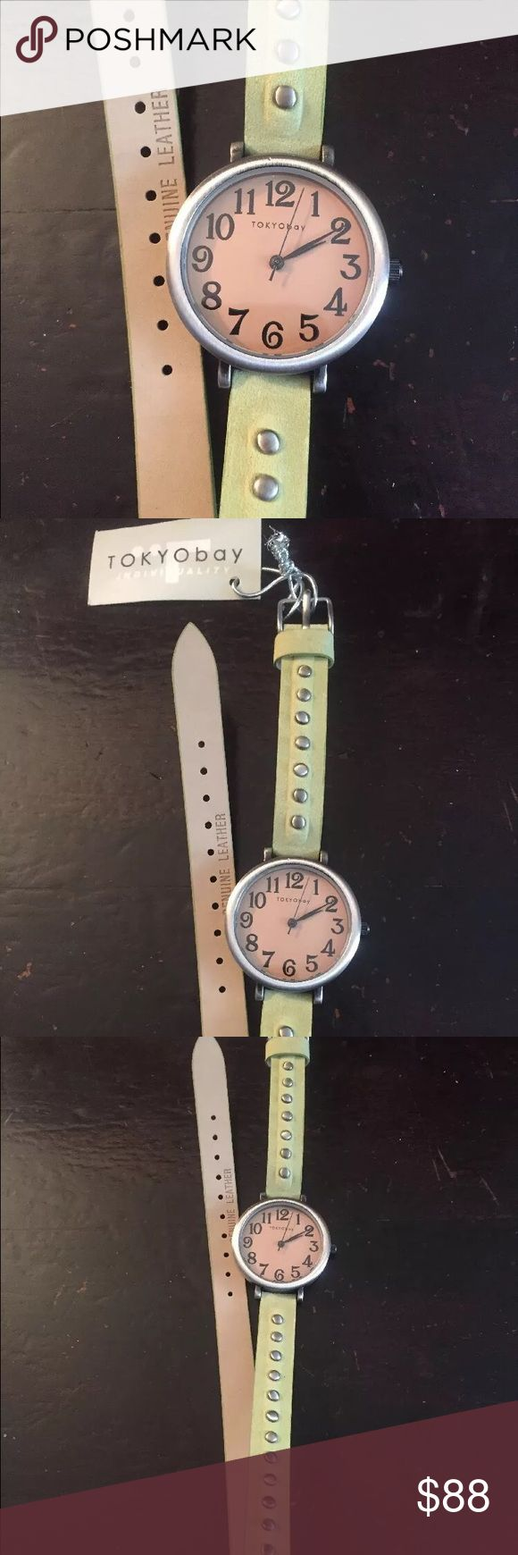 Tokyo Bay NWT Woman's Watch, Quartz, Analog Tokyo Bay woman's watch. Green leather with studs, double wrap around, needs new battery, otherwise perfect condition, NWT Tokyo Bay Accessories Watches