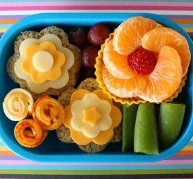 Kid Bento Box Basics: Cheese and Mandarin flowers