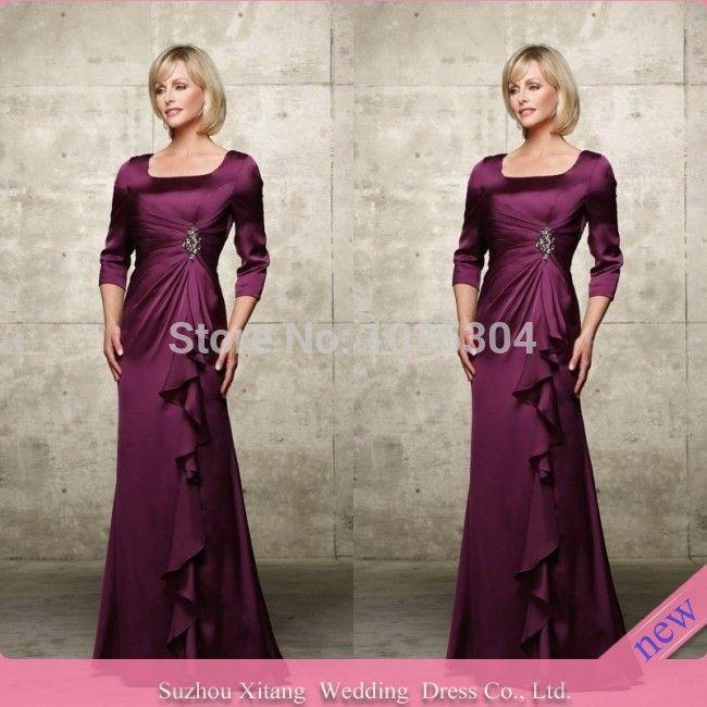 Купить товарM1547 низкая цена фиолетовый платье линии совок 3/4 рукавом складки бисером атласные длиной до пола , мать невесты платья 2014 в категории Мамам молодожёновна AliExpress.     И клубы;               О нас  И клубы;         И клубы;  Почему выбрать король, Свадебные платья