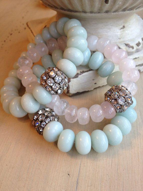 Baby soft pink gemstone boho style summer by MarleeLovesRoxy, $39.00