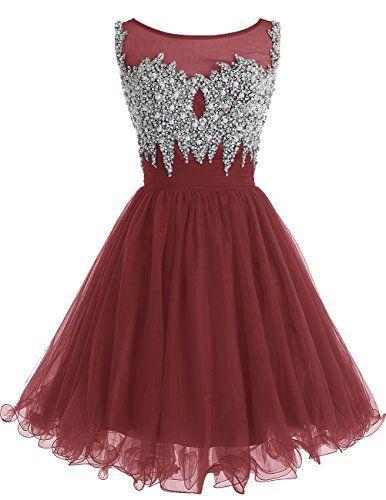 Dresstells® Women's Short Scoop Prom Dress With Beadi…