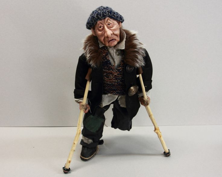 OOAK DOLL BEGGAR old man with wooden crutches, handmade art doll, home decor, polymer clay sculpture, miserable pensioner, by LalkowniaDolls on Etsy