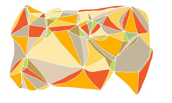 Large print  24x40 Geometric print   Orange Red  by villavera, $125.00