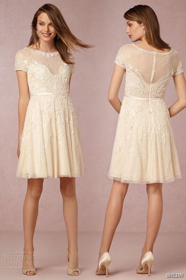 Bhldn fall 2015 wedding dresses beaded short sleeve for Ivory knee length wedding dresses