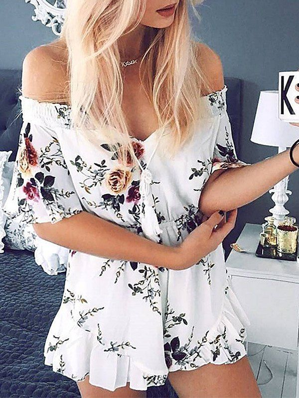 Off The Shoulder Chiffon Floral Romper - WHITE M