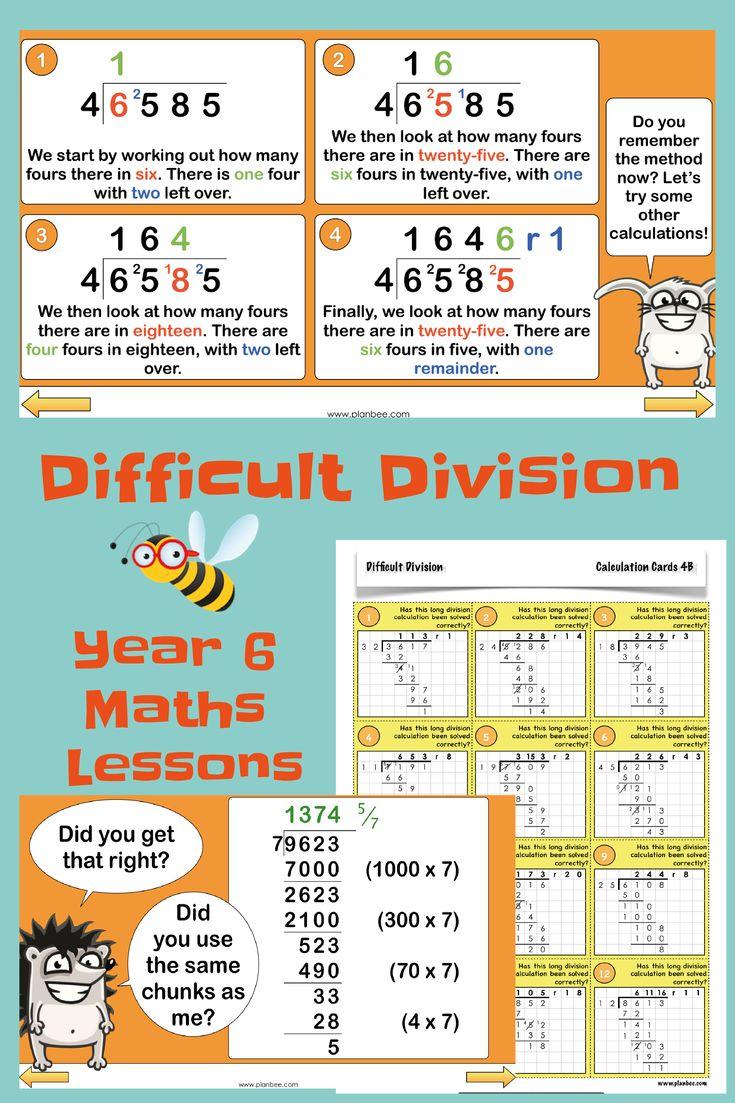 Difficult division year 6 maths printable teaching
