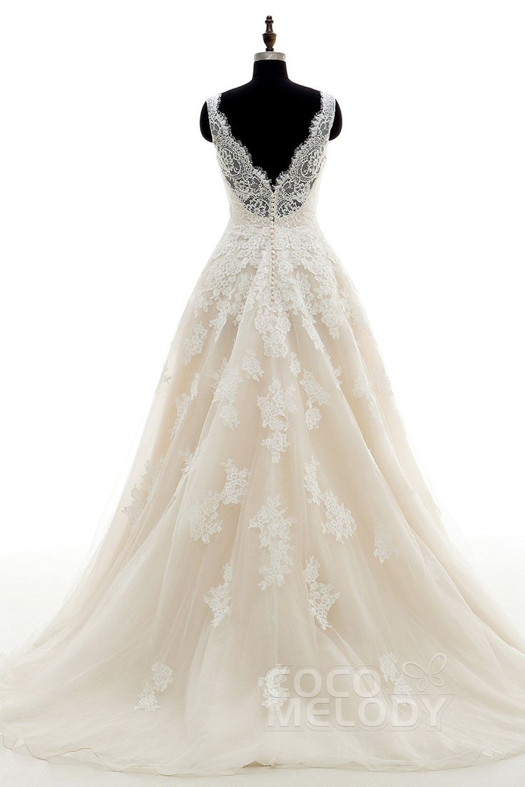 Chic A-Line V-Neck Natural Court Train Tulle and Lace Ivory ...
