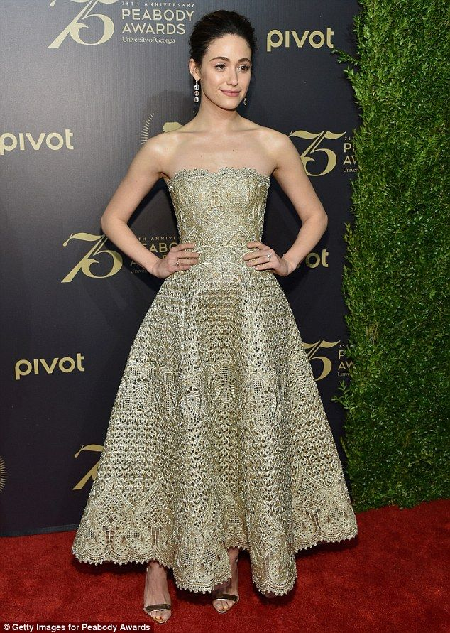 Shimmering: Emmy Rossum looked incredible in a strapless gold dress at the 75th Annual Peabody Awards on Saturday in New York City