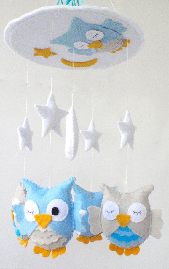 Baby Crib Mobile - Baby Mobile - Nursery Crib Mobile - Turquoise and Beige Owl Mobile Sleeping Owls $90