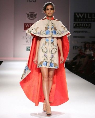 Floral embroidered cream cape dress by samant chauhan for Cape designs