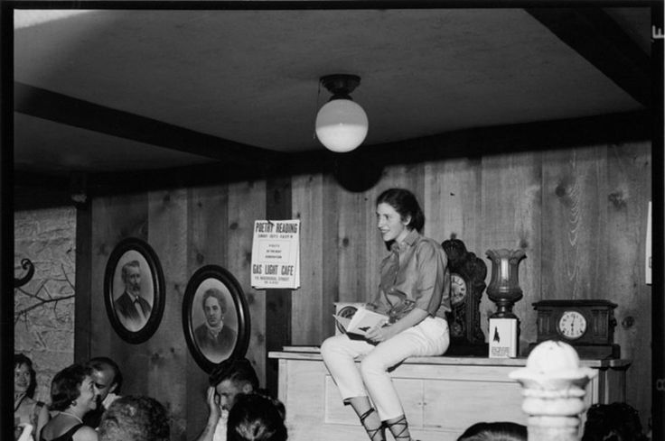 Diane Di Prima recites poems in the Gas Light Cafe, New York, 1969Photography by Fred W. McDarrah