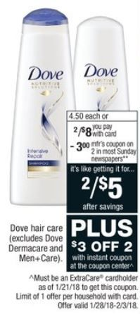 Dove Shampoo and Conditioner for $1 each at CVS through 02/03!