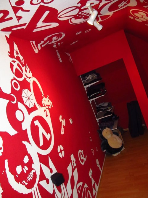 Awesome Room Decoration: Rooms Red, Games Rooms, Guys Paintings, Games Logos, Rooms Wall, Dreams Rooms, Videos Games, Graphics Desighn, Red Rooms