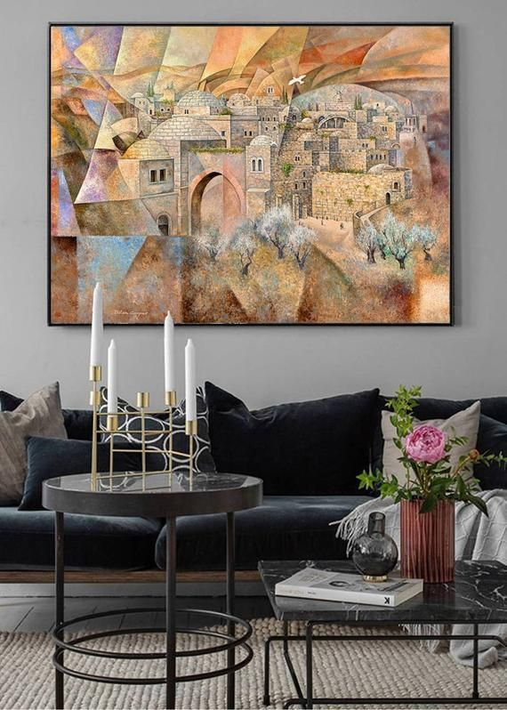 Jerusalem Judaica Wall Art Jewish Modern Art Contemporary Etsy Contemporary Art Canvas Painting Art