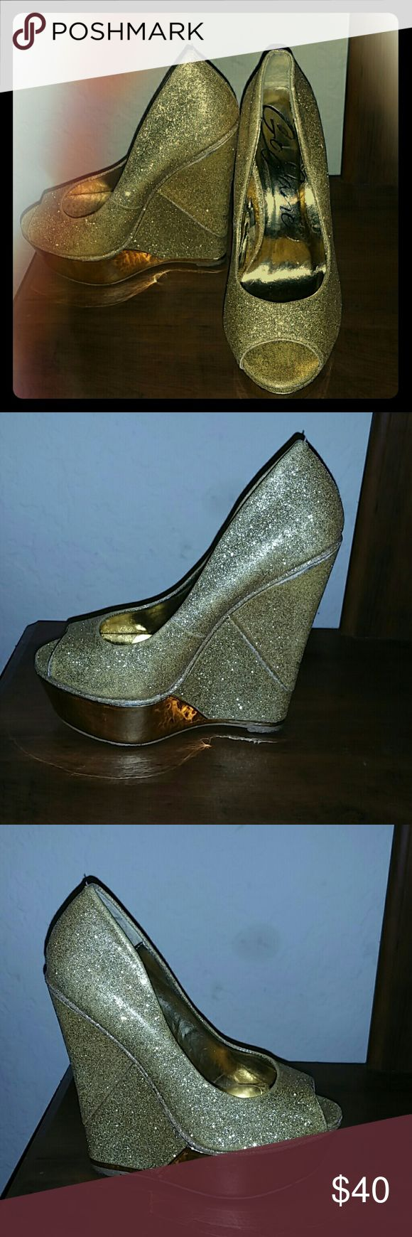 Gold Wedge Shoes Yellow Gold Glitters go Jane Shoes Wedges