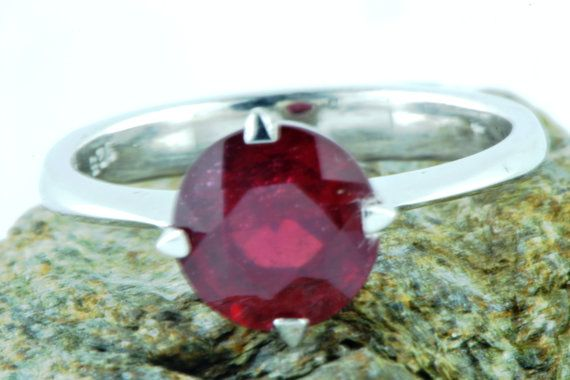 Natural Earth Mined Ruby Ring July Birthstone by LuckyGirlAtelier