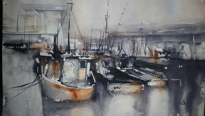 Harbour; Boat study; water colour study by Cavell Steenkamp