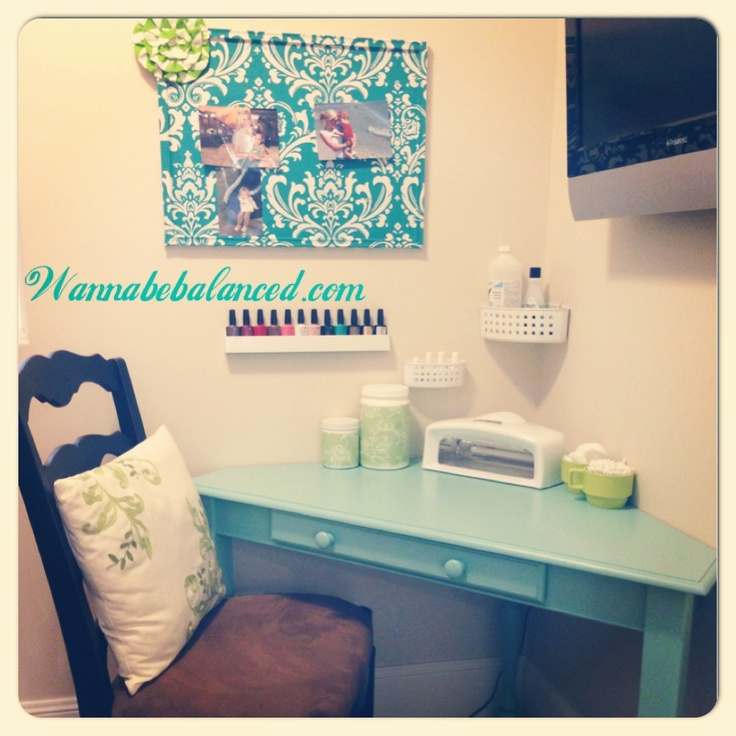 I created a little nail salon for myself. I recently bought the shellac nail kit with the UV light and all. I love it! I re-covered an old cork board with some cute fabric (used spray adhesive). Also, notice how I've repurposed my protein shake canisters. Just added some shelf paper to dress them up a bit.  www.wannabebalanced.com