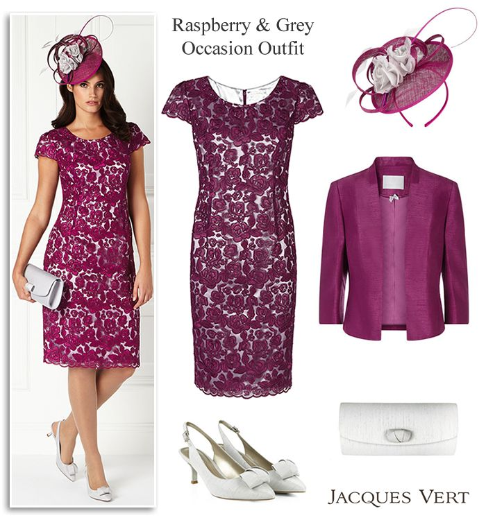 Jacques Vert dark pink and grey Mother of the Bride or Groom occasion outfit, corded lace shift dress, edge to edge jacket, light grey shoes, bag & matching fascinator