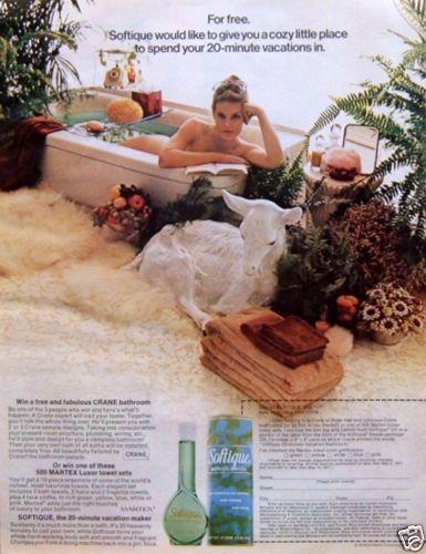 1971 Original AD: Softique Bath Oil Beads & Oil