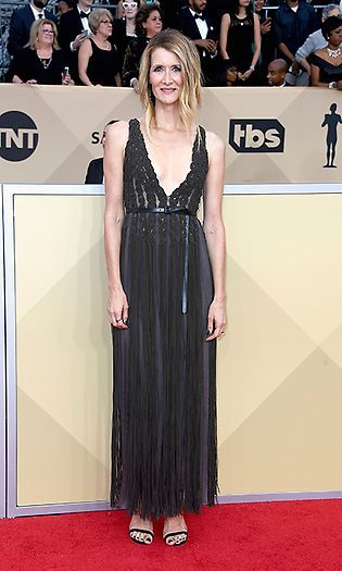 Laura Dern  The Big Little Lies actress stole the show in a low cut black gown, paired with black strappy heels. Photo: © Getty Images 2018