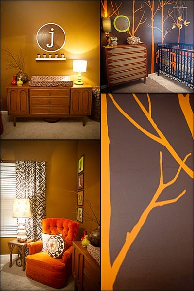 @Tiffany Hillis Covert  kind of a way to maybe combine the look with a boy look....bold colors, vintage furniture, tree mural... what more could i ask for?
