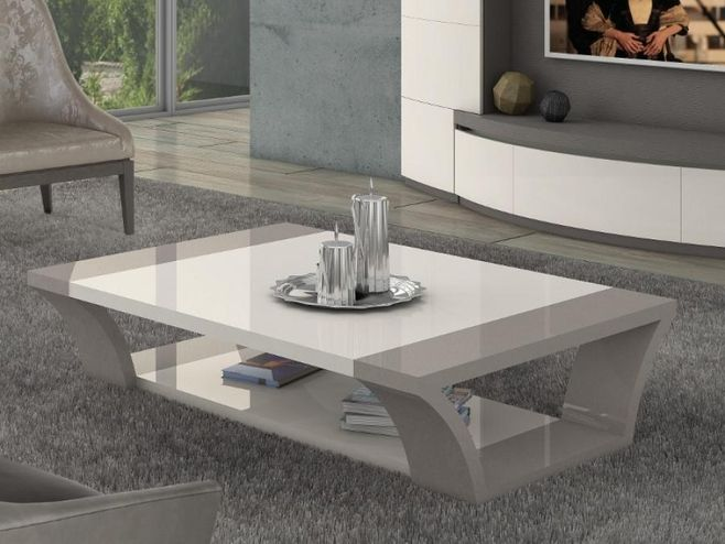 Carlotta Modern Coffee Table In Ivory And Beige Grey High