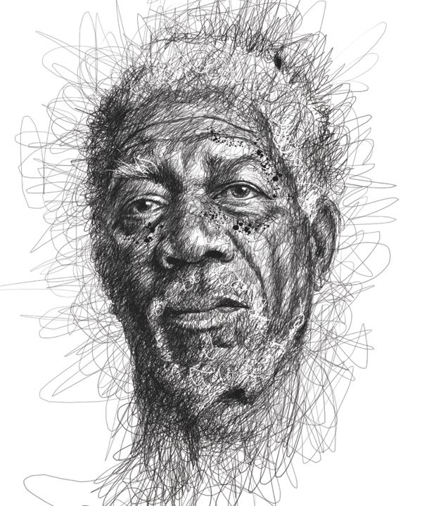 """creative portrait drawing """"Faces"""" by Vince Low 2013-04 from Kuala Lumpur, Malaysia (via Behance 8234027) • depicted: Morgan Freeman"""